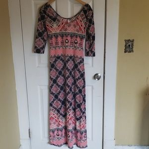 Red white and blue mixed print maxi dress